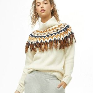 Forever 21 Multicoloured Fringe Tassel Turtleneck